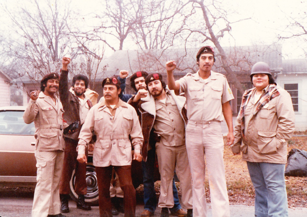 "Carnalismo brown Berets, alongside ""La Causa Brown Berets."" Note that their patches are RED, not yellow"